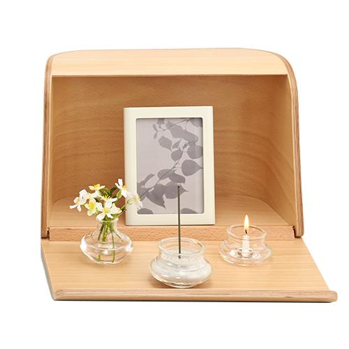 やさしい時間 祈りの手箱【ナチュラル】[ガラス製三具足・写真立・線香・灰・ローソクが付属] モダン仏壇