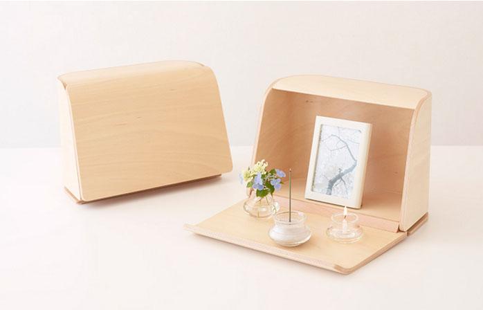 やさしい時間 祈りの手箱【ナチュラル】[ガラス製三具足・写真立・線香・灰・ローソクが付属] 仏壇